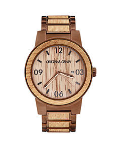 ORIGINAL GRAIN Men's Barrel Whiskey Espresso Watch
