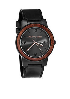 ORIGINAL GRAIN Men's Barrel Sapele Black Leather Watch