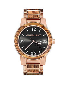 ORIGINAL GRAIN Men's Barrel Zebra Wood Rose Gold Watch
