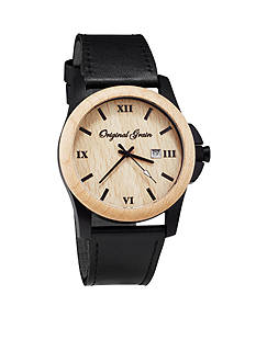 ORIGINAL GRAIN Men's Classic Maple Black Leather Watch