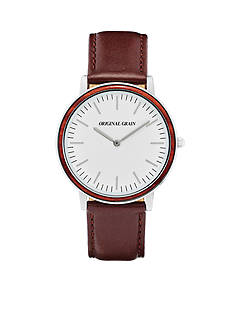 ORIGINAL GRAIN Men's Minimalist Rosewood Chrome Leather Watch