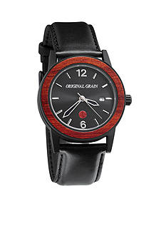 ORIGINAL GRAIN Men's Sixty40 Rosewood Black Leather Watch