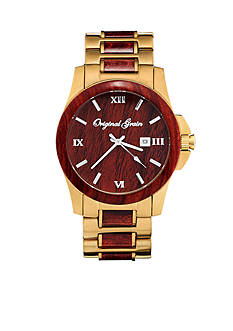 ORIGINAL GRAIN Men's Classic Rosewood Gold Watch