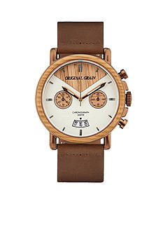 ORIGINAL GRAIN Men's Alterra Brushed Espresso Whiskey Wood Watch