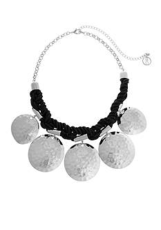 Curvy Chic Silver-Tone Black Cord Hammered Disc Collar Necklace