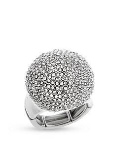 Curvy Chic Silver-Tone Crystal Stone Stretch Ring