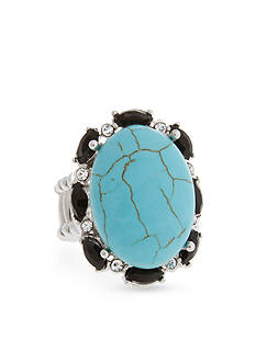 Curvy Chic Silver-Tone Turquoise Jet Stretch Ring