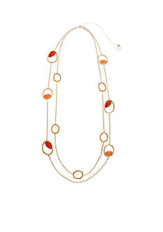 Curvy Chic Gold-Tone Coral Stone Long Necklace