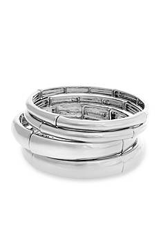 Curvy Chic Silver-Tone 4-Piece Bangle Bracelet Set