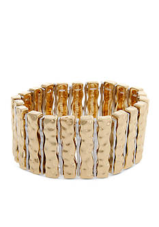 Curvy Chic Two-Tone Hammered Stretch Bracelet