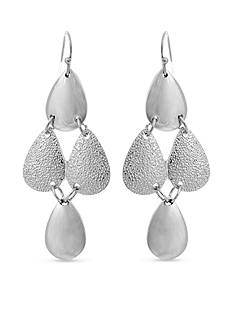 Curvy Chic Silver-Tone Textured Drop Earrings