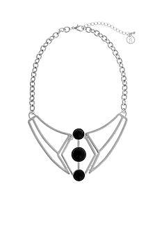 Curvy Chic Silver-Tone Geometric Jet Collar Necklace