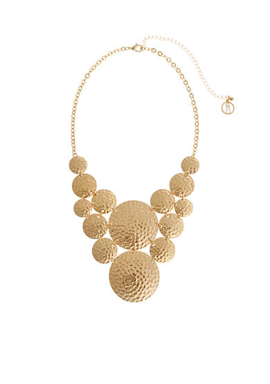 Curvy Chic Gold Tone Hammered Disc Statement Necklace