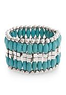 Curvy Chic Silver-Tone Turquoise Stretch Bracelet