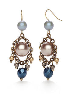 New Directions® Gold-Tone Blue Northern Chandelier Earrings