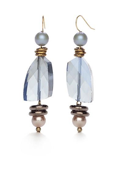 New Directions® Gold-Tone Blue Northern Triple Drop Earrings