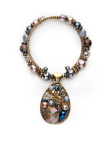 New Directions® Gold-Tone Blue Northern Teardrop Pendant Collar Necklace