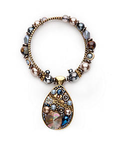 New Directions Gold-Tone Blue Northern Teardrop Pendant Collar Necklace