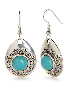 New Directions® Silver-Tone Turquoise Teardrop Earrings