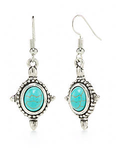 New Directions® Silver-Tone Turquoise Cross Drop Earrings