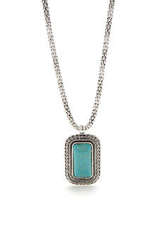 New Directions Silver-Tone Framed Turquoise Pendant Necklace