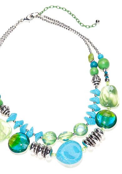 New Directions® Blue Paradise Two Row Necklace