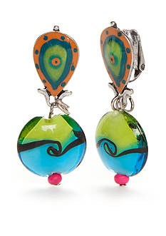 New Directions® Silver-Tone Key West Tropical Fish Clip Earrings
