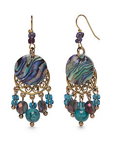 New Directions Gold-Tone Blue Lagoon Chandelier Earrings