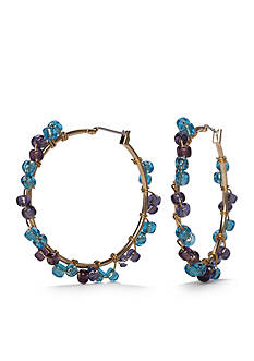 New Directions® Gold-Tone Blue Lagoon Beaded Hoop Earrings