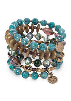 New Directions Gold-Tone Blue Lagoon Coil Bracelet