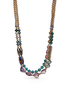 New Directions® Gold-Tone Blue Lagoon Collar Necklace