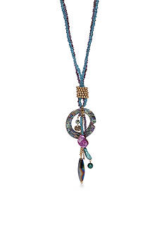 New Directions® Gold-Tone Blue Lagoon Tassel Pendant Necklace