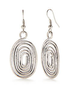 Treska Silver-Tone Metals Oval Swirl Drop Earrings