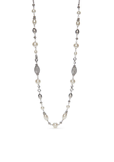 New Directions® Silver-Toned Mesh Pearl Long Strand Necklace