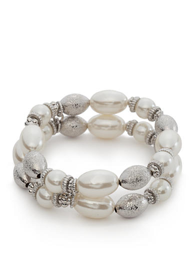 New Directions® Silver-Toned Mesh Pearl  2 Row Stretch Bracelet