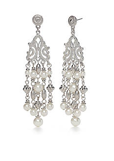 New Directions® Silver-Tone Mesh Pearl Chandelier Earrings