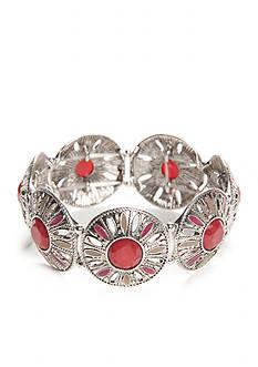 New Directions Silver-Tone Bon Voyage Stretch Bracelet