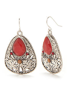 New Directions Silver-Tone Bon Voyage Filigree Teardrop Earrings