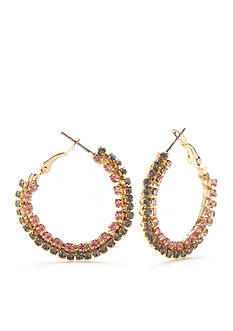 New Directions® Gold-Tone Winter Garden Crystal Stone Hoop Earrings