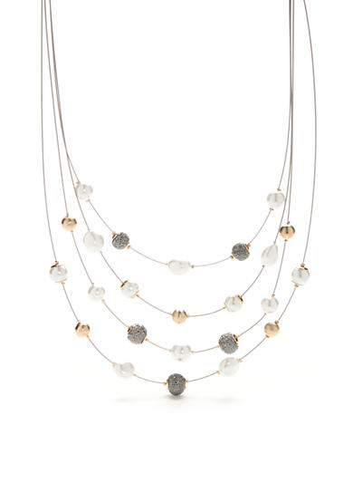 New Directions® Gold-Tone Four Row Illusion Necklace