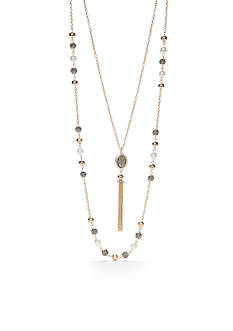 New Directions Gold-Tone Double Row Long Tassel Necklace