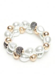 New Directions Gold-Tone Two-Piece Stretch Bracelet