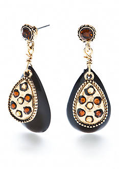 New Directions® Gold-Tone Wild Poetry Overlay Teardrop Earrings