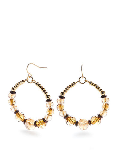 New Directions® Gold-Tone Wild Poetry Beaded Gypsy Hoop Earrings