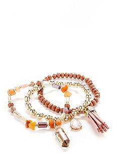 New Directions Gold-Tone Coachella 3-Piece Stretch Bracelet Set