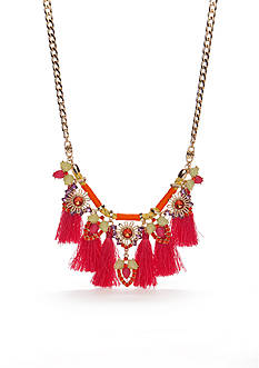 New Directions Gold-Tone Taste Of The Tropics Fringe Statement Necklace