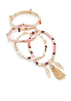 New Directions® Gold-Tone Coral Glow 4 Row Bracelet