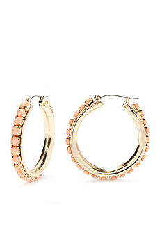 New Directions® Gold-Tone Coral Glow Beaded Hoop Earrings