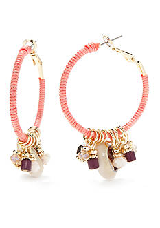 New Directions® Gold-Tone Coral Glow Hoop Earrings