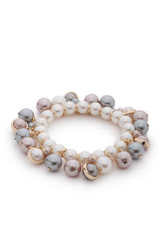 New Directions Gold-Tone Marvelous Pearl Shaky Stretch Bracelet